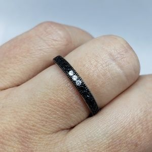 925 Sterling Silver Round Black Spinel Stackable